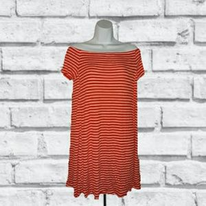 OLD NAVY STRIPED OFF SHOULDER DRESS